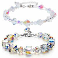 Womens Aurora Borealis Crystal Bracelet Square Bangle Wristband Chain Adjustable