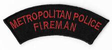 Metropolitan Police Fireman Embroidered Iron / Sew on Badge UK Tactical Costume