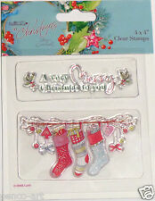 Papermania At Christmas clear rubber stamp set of 2   stockings baubles Holly