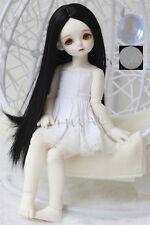 "6-7"" 1/6 BJD Jet Black Long Straight Mini Wig LUTS Doll SD DOD MSD Dollfie Hair"