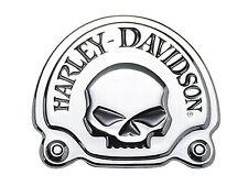 Medaglione Emblema PLACCA Skull Cromato Harley Davidson COPRI BATTERIA SCHIENALE