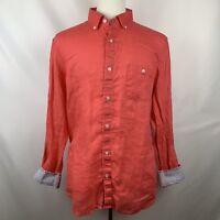 Hickey Freeman Mens Coral Pink 100% Linen Flip Cuff Casual Dress Shirt Sz Large