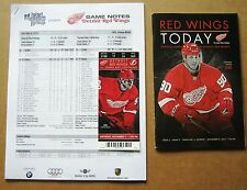 Detroit Red Wings Stephen Weiss Ticket, Game Program & Game Notes 11-09-2013
