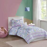 Chic Purple Lavender/White Llama Reversible Comforter Set AND Decorative Pillow