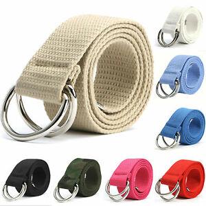 Mens Ladies Belt Canvas D Ring Fabric Webbing Waist Belt Waistband Womens UK