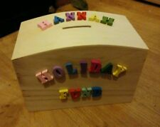 NEW PERSONALISED Made to order LARGE WOODEN  MONEY BOX any name & message
