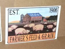 Pig / Hog Sign - Farmer'S Feed & Seed - Shows an Old 1906 Barn & 11 Little Pigs