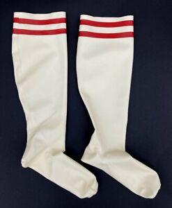 SYREN KNEE HIGH LATEX SOCKS XS White Rubber Stocking Red Stripes Thigh-high USA
