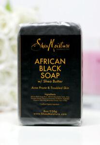 2X Shea moisture Organic African Black Soap Bar with Shea Butter, 8oz each