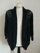Excel black wool mohair sequin & embroidery cardigan Size small - Medium vintage