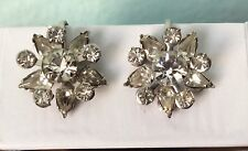 Vintage Rhinestone Pronged Bezel Snowflackes Screw On Clips Earrings Silver Tone