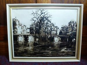 Vintage Retro Black & White Cream Framed Cityscape City Oil Painting 1960s 60s