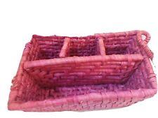 Pink Divided Wicker Basket..Desk Organizer, Crafts, Remotes, Make-Up Holder