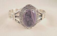 Navajo Handmade Charoite Bracelet Set In Sterling Silver