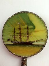 Vintage Ornate Hand Mirror Enameled Nautical Scene with Faux Jade Handle In Box