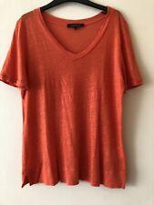 Womens Jaeger 100% Flax Linen T-Shirt Size XS Orange