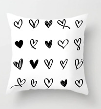 Pillow Case Black  And White Heart  Pillowcases Polyester Pillow Case Decorative