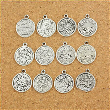 60pcs/5sets Zodiac all Constellation Antique Silver charms pendant findings DIY