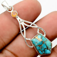 Copper Blue Turquoise and Citrine 925 Sterling Silver Pendant Jewelry SDP64322