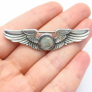 AMICO Antique WWII Sterling Silver US Army Air Force Observer Wings Pin Brooch