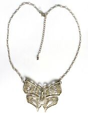 Costume Jewellery Necklace, Large Butterfly Gold colour metal Pendant, Preowned