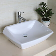 Bathroom Ceramic Vessel Sink Porcelain Irregular Bowl Chrome Faucet Pop Up Drain