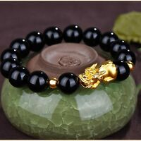 999 Pure 24K Yellow Gold 14*8mm 3D Lucky Pixiu Link Black Agate Chain Bracelet