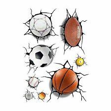 3D Football Basketball Crack Decal Wall Sticker Mural Boys Room Decor R8N3