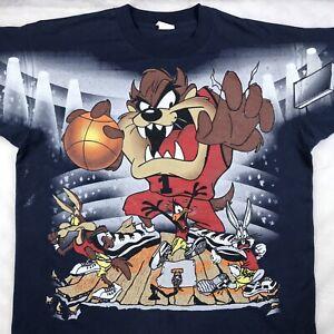 vintage 90s TAZ BASKETBALL LOONEY TUNES FREEZE T-Shirt XL cartoon hip hop rap