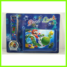 Super Mario Brothers Luigi Yoshi Kids Boys Wrist Watch and Purse Wallet SET