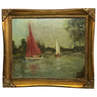 Fine English Oil Painting Racing Boats Thames By Windsor After Sydney Thompson