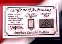 ACB Palladium 5GRAIN BULLION MINTED BAR 999 Pure Certificate Authenticity $