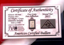 ACB Palladium 5GRAIN BULLION MINTED BAR 999 Pure Certificate Authenticity!