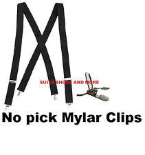 NEW Mens Black Clip Suspenders Tuxedo Tux Braces X-Back Elastic Suspender USA