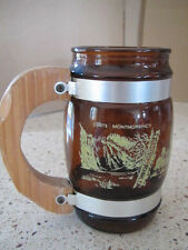 Vintage QUEBEC CANADA Collectable Glass & Wood Mug CHATEAU FRONTENAC