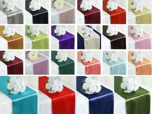 "12"" x 108"" Satin Table Top Runner Wedding Party Banquet Linens Event Decoration"
