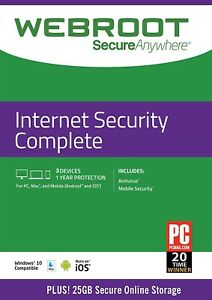 Webroot SecureAnywhere Internet Security COMPLETE 2021, 3 Devices 1 Year e-CARD