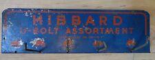 1950's Hibbard Tin Sign U-Bolt Organizer Tin Wall hanger Vintage Garage Shop