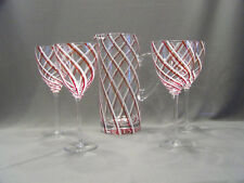 Swirl stripped glass pitcher and glasses red and white candy strip set of 4