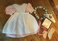 American Girl Kirsten's Birthday Outfit-Dress, Apron, Socks, Wreath RETIRED-EUC