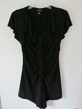WHITE HOUSE BLACK MARKET Ruffled Ruched Black Asymmetrical Top Tunic Small MINT