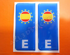 2x3D Sticker Resin Domed Euro SPAIN Number Plate with Flag Car Badge Adhesive