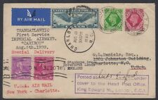 1939 Imperial Airways 1st Transatlantic flight GB-US cover w/ GB stamps, Prexies