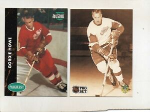 2-gordie howe detroit red wings card lot 1991/92 pro set 344 parkhurst phc1
