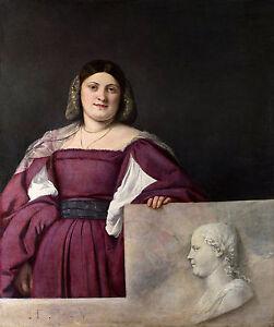 Titian - Portrait of a Lady ('La Schiavona'), Art Poster, Museum Canvas Print
