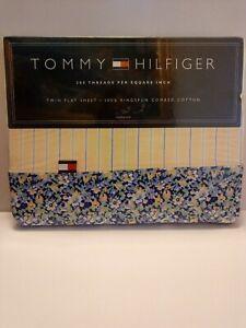 Tommy Hilfiger Elizabeth Anne Stripe Yellow/Blue Floral Twin Flat Sheet NIP
