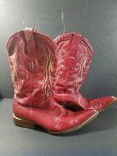 LOS ALTOS BOOTS Men's Size 8 1/2  Cowboy Western Authentic Red Leather