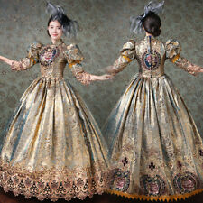 Women Medieval Marie Antoinette Rococo Victorian Long Dress Mary Party Costume