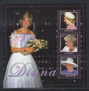 LIBERIA Princess Diana Holding Bouquet MNH souvenir sheet