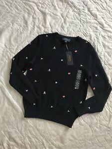 NEW Polo Ralph Lauren Boys Skull And Bones Flag Easter Sweater M Medium 10-12